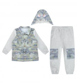 Комплект кофта/брюки/шапка  Fashion Jeans, цвет: серый/хаки Папитто