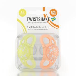 Пустышка  силикон, с 6 мес, цвет: желтый/оранжевый Twistshake