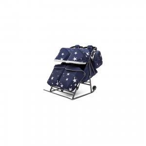 Санки-коляска для двойни  Pikate Твин Звёзды на тёмно-серой раме, синий ABC Academy. Цвет: синий
