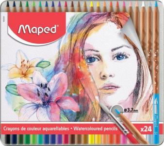 Акварельные карандаши с кисточкой Artist 24 цвета Maped