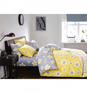 Комплект постельного белья  Звезды, цвет: серый 3 предмета Cleo