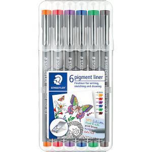 Набор капиллярных ручек  «Pigment Liner»,6 цветов Staedtler