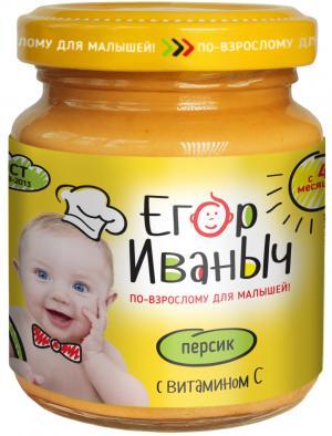 Пюре  в баночке персик с витамином 4 месяцев, 100 г Егор Иваныч