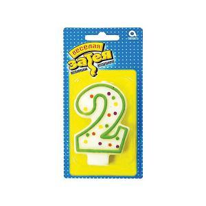 Свеча для торта Веселая затея Цифра 2, 7,6 см