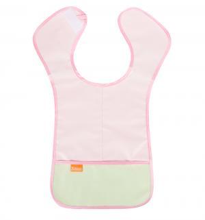 Нагрудник  защитный из клеенки, цвет: розовый/карман салатовый Витоша
