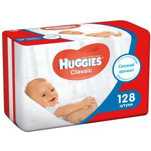 Салфетки  «Classic» влажные детские, 128 шт Huggies