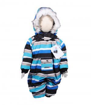 Комбинезон зимний для мальчика (голубой в полоску) Rasavil. Цвет: голубой