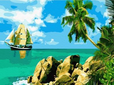 Картина по номерам с цветной схемой на холсте Сейшельские острова 40х30 см Molly