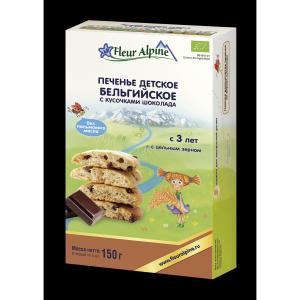 Печенье  Organic Бельгийское с кусочками шоколада, 150 г, 1 шт Fleur Alpine
