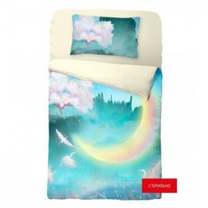 Постельное белье  New moon стерильное на резинке (3 предмета) Облачко