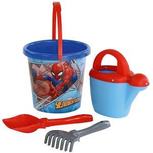Набор Marvel «Человек-Паук» №9: ведро с наклейкой, лопатка №5, грабельки лейка №10 Полесье. Цвет: разноцветный