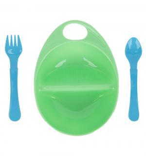 Набор для кормления  тарелка+ложка+вилка, цвет: зеленый Курносики
