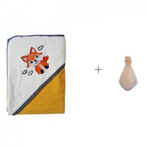 Полотенце для купания Little Fox 90х90 см и  полотенце-салфетка Кролик 30х30 Uviton
