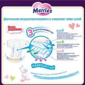 Подгузники  M (6-11 кг) 22 шт. Merries