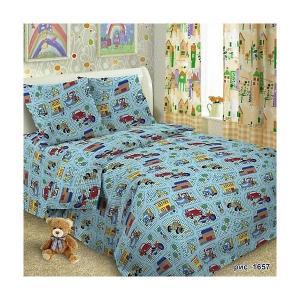 Детское постельное белье 1,5 сп , Веселые машинки Letto. Цвет: синий