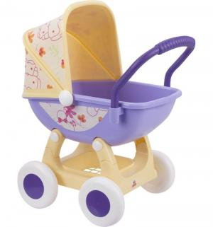 Коляска для кукол  Arina №2 4-х колёсная сиреневая люлька желтое основание 57 см Coloma Y Pastor