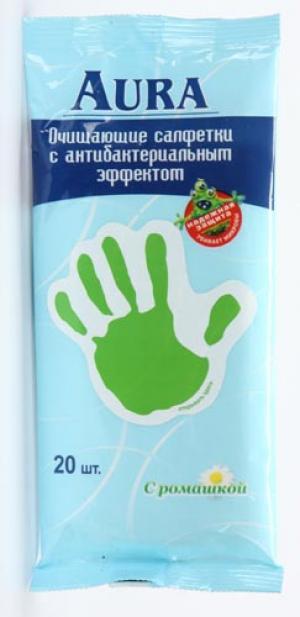 Влажные салфетки  с антибактериальным эффектом, 20 шт Aura