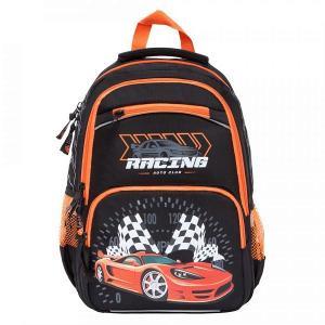 Ранец школьный , цвет: черный/оранжвый Grizzly