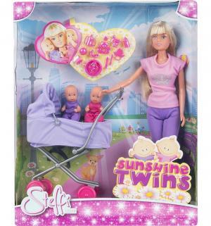 Кукла  в розовой футболке и сиреневых брюках с коляской Steffi