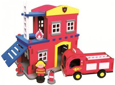 Конструктор  Пожарная станция 124 детали Bebox