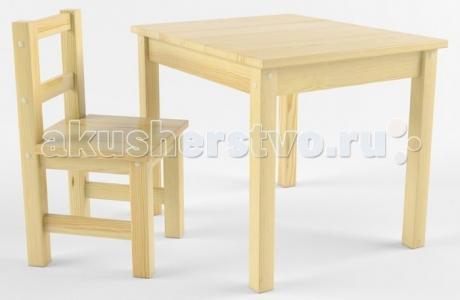 Набор детской мебели (стол, стул) деревянный не окрашен Русские игрушки