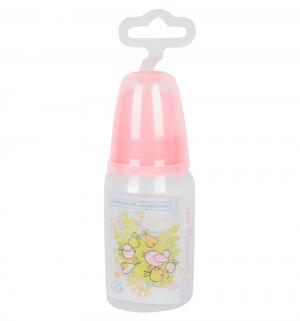 Бутылочка  с силиконовой соской полипропилен рождения, 125 мл, цвет: розовый Мир Детства