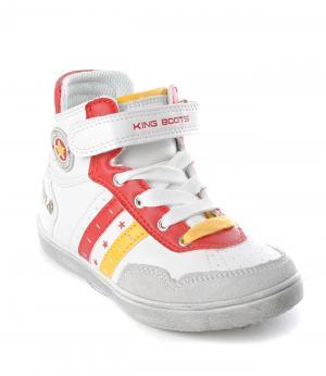 Ботинки на молнии для мальчика (бело-красные) King Boots. Цвет: белый