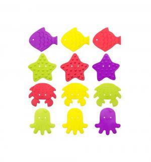 Коврики-мини  для ванны (12 шт), цвет: разноцветный Roxy-kids