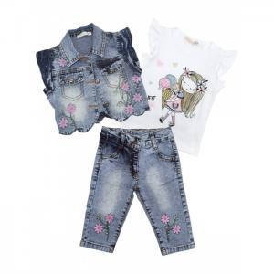 Комплект для девочки жилет, футболка, джинсы 3368 Baby Rose