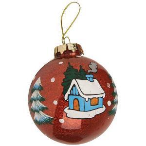 Ёл. укр. GRANDE шар новогоднее настроение с блестками внутри  8 см., 1шт, красный Marko Ferenzo
