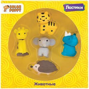 Комплект ластиков  Животные, 5 шт Color Puppy. Цвет: разноцветный