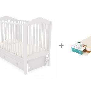 Детская кроватка  Анастасия универсальный маятник и матрас EcoLat Плитекс 119х60х12 Гандылян