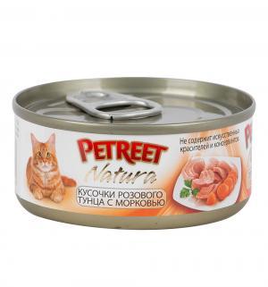 Влажный корм  для взрослых кошек, кусочки розового тунца/морковь, 70г Petreet