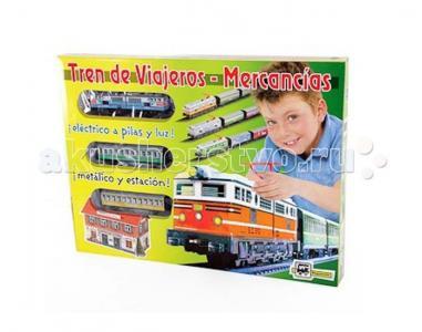 Железная дорога 1 локомотив 2 вагона со станцией 3,4 м эллипс Pequetren