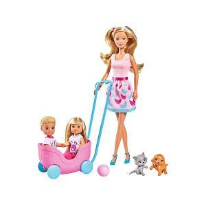 Игровой набор  Steffi Love Штеффи, Еви и Тимми с питомцами, 29 см Simba. Цвет: розовый