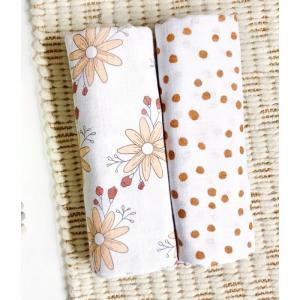 Пеленка  Цветы/Горошки 115х115 см 2 шт. Mjolk