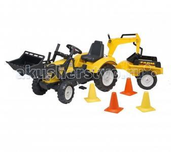Трактор-экскаватор педальный с прицепом желтый 201 см Falk