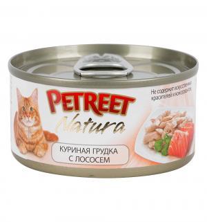 Влажный корм  для взрослых кошек, куриная грудка/лосось, 70г Petreet
