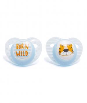 Пустышки  ортодонтические Тигр, 2 шт. в упаковке, цвет: голубой Mothercare