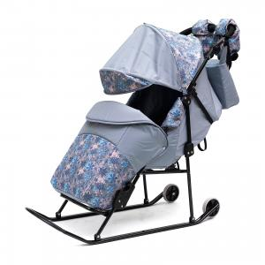 Санки-коляска  Зимняя сказка 3В Авто, черная рама, серый/снежинки ABC Academy. Цвет: серый