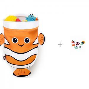 Органайзер для ванны-Рыбка и Набор игрушек ванной B.Toys Давай плескаться BenBat