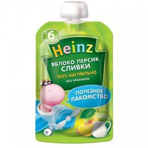 Пюре  яблоко-персик сливки с 6 месяцев, 90 г Heinz
