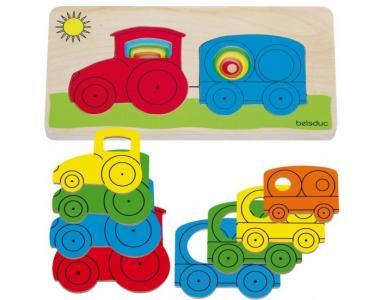 Деревянная игрушка  Развивающий пазл Трактор Beleduc