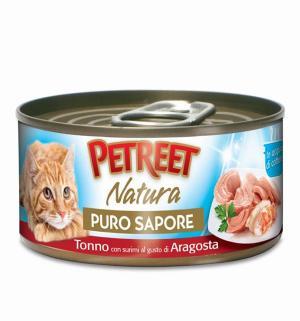 Влажный корм  для взрослых кошек, кусочки тунца с сурими со вкусом лобстера в рыбном супе, 70г Petreet