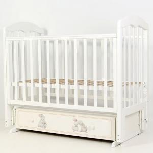 Детская кроватка  Зайки-Акварель-7 маятник поперечный Топотушки