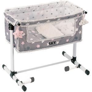 Кроватка для кукол  Скай с опускающимся бортиком, 50 см DeCuevas. Цвет: розовый/белый