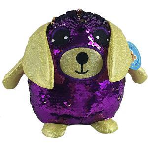 Мягкая игрушка  Собака с пайетками, 20 см ABtoys. Цвет: фиолетовый