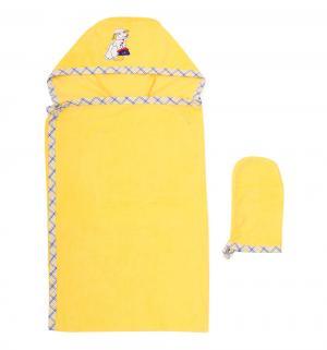 Комплект для купания  полотенце/рукавичка, цвет: желтый Leader Kids