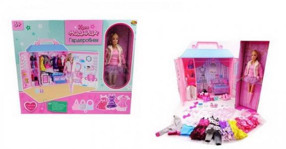 Кукла Модница с гардеробной 30 см (84 предмета) ABtoys