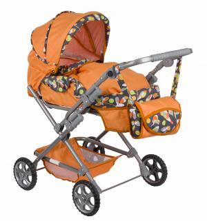 Коляска для кукол  Майя оранжевая с листочками Wakart